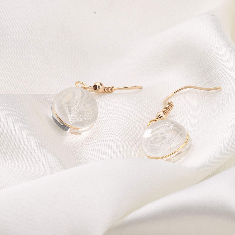 bobauna Make a Wish Dandelion Bracelet Handmade Rope Adjustable Bracelet Real Flower Glass Ball Jewelry for Girl Women