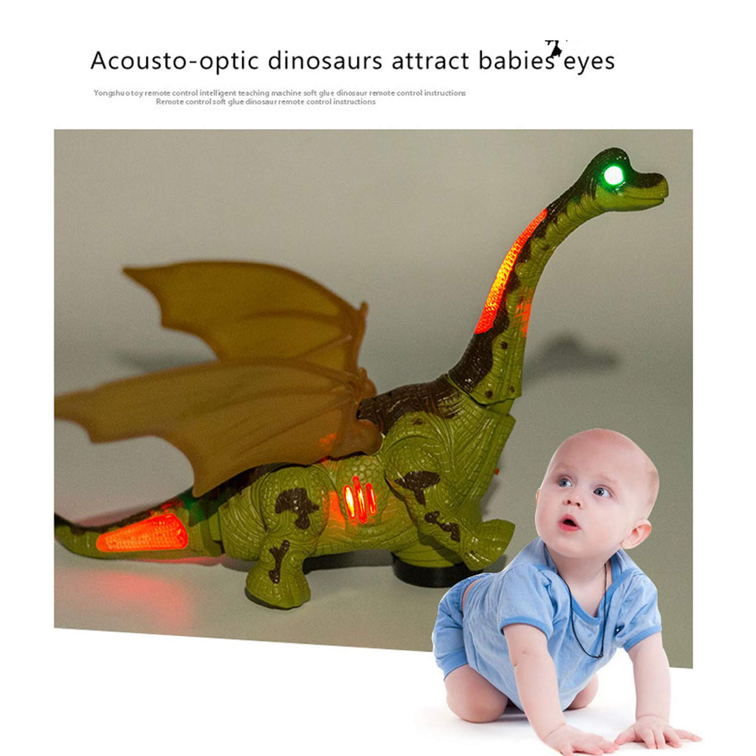 Mrocioa Electronic Dinosaur Toys Walking with Light up&Sound,Big Dino Action Figure 40cm Long for Toddler Boys,Shaking its Tail and Long Neck (Green) by Mrocioa (Image #5)