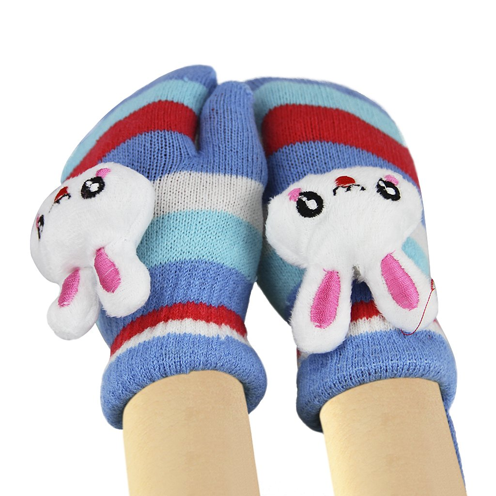 Kids Girls Boys Winter Warm Thicken Knitted Gloves Cute Cartoon Rabbit Soft Fleece Lining Wool Knit Outdoor Cycling Ski Gloves Mittens Warmer (with String), Christmas New Year Gift Blue