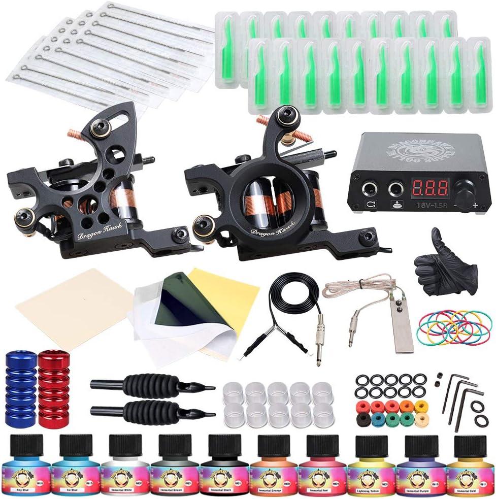 Dragonhawk Complete Tattoo Kit 2 Machine Gun 10 Color Inks Power Supply
