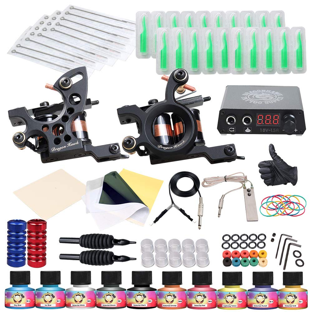 Dragonhawk Complete Tattoo Kit 2 Machine Gun 10 Color Inks Power Supply by Dragon Hawk