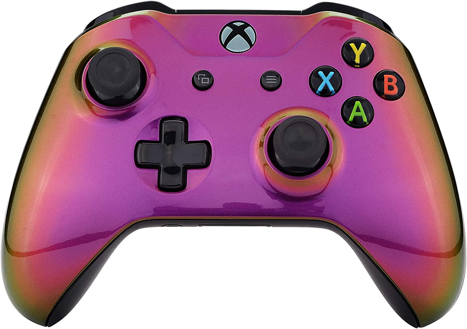 eXtremeRate Purple Yellow Green Chameleon Front Housing Shell Case, Glossy Faceplate Cover Replacement Kit for Xbox One S & One X Controller (Model 1708)