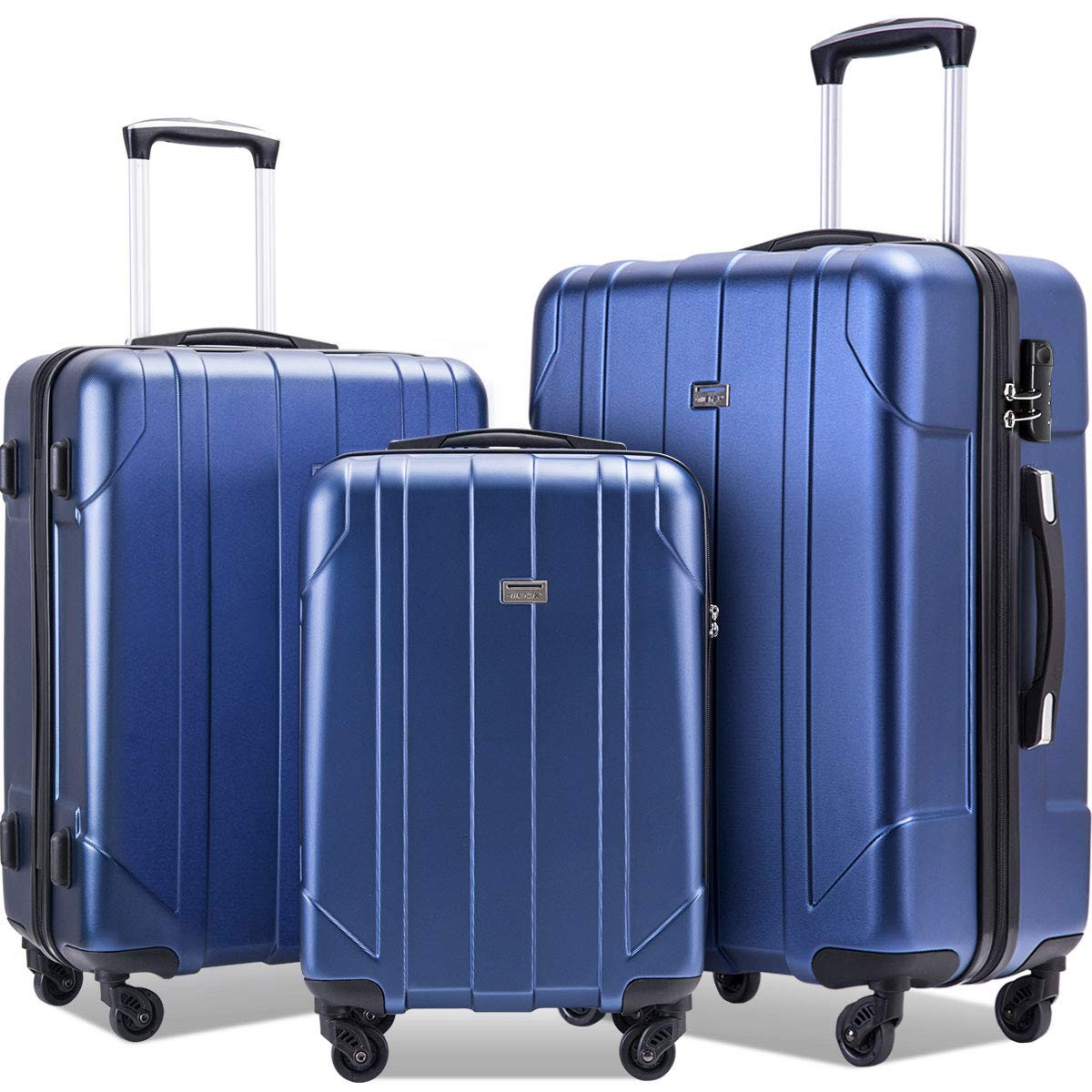 Merax 3 Piece P.E.T Luggage Set Eco-friendly Light Weight Spinner Suitcase(Blue) by Merax