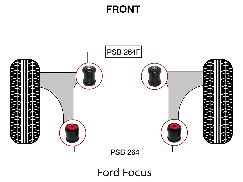 05-16 PSB264F//264 PSB Polyurethane Bush Focus MK2//MK3 Complete Front Wishbone Bushing Kit