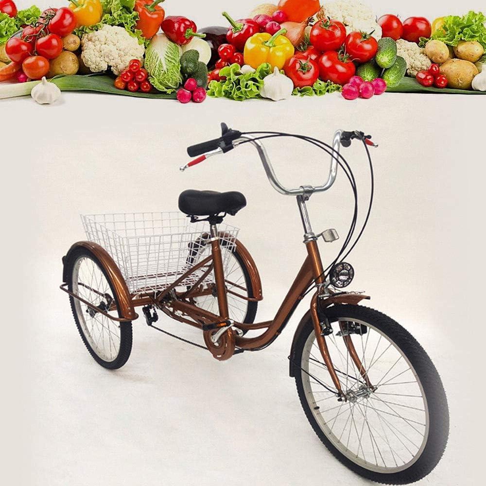 luz Principal OUBAYLEW Triciclo Adulto con Cesta 24 3/Ruedas 6/velocidades Ajustable