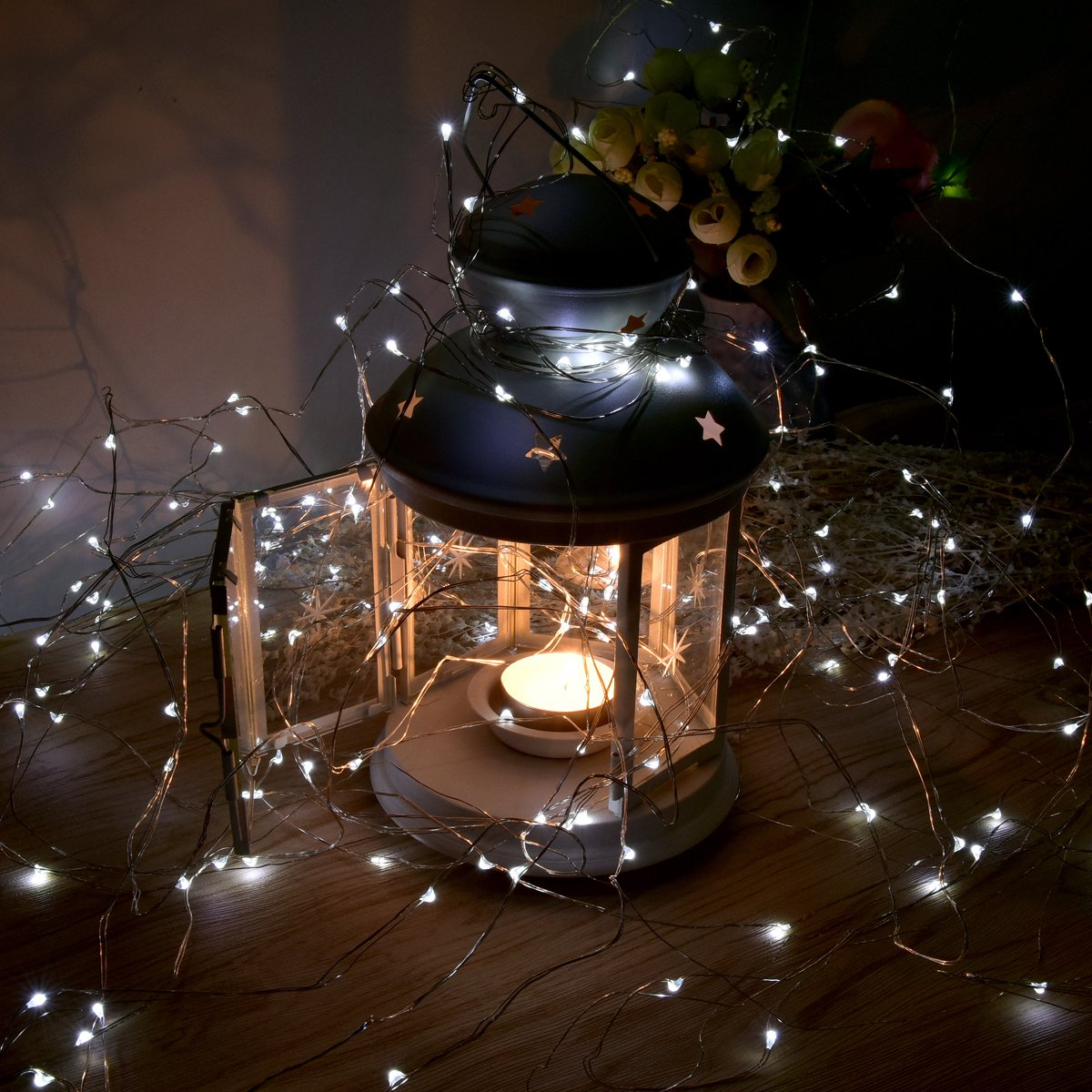 Ankway Solar String White Lights, 200 LED 3-Strand Copper Wire Fairy Lights 8 Modes 72 ft Solar Powered String Lights Waterproof IP65 LED Christmas Lights Outdoor Patio Garden Indoor Bedroom (White)