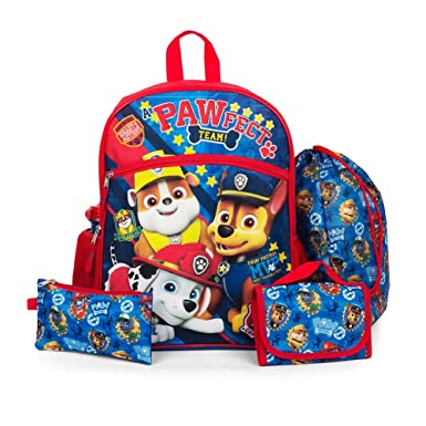 Amazon.com | Paw Patrol 5-pc. Backpack, Lunch Box & Accessory Set ...