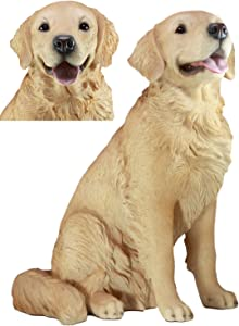 """Ebros Lifelike Realistic Buddy Golden Retriever Statue 20.5"""" Tall Fine Pedigree Dog Breed Collectible Decor with Glass Eyes"""
