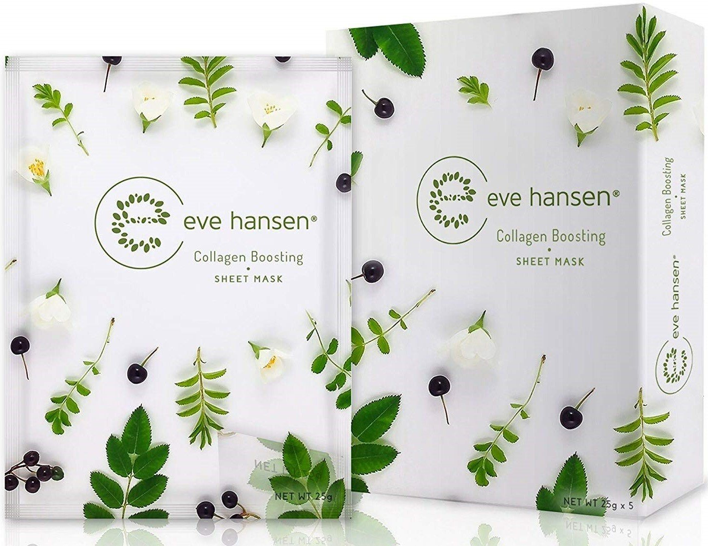 Collagen Sheet Mask by Eve Hansen - Reduce the Appearance of Fine Lines, Wrinkles, and Skin Sagging - 5X Facial Masks …