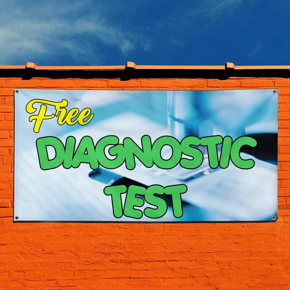 Set of 2 28inx70in 4 Grommets Vinyl Banner Sign Free Diagnostic Test Automotive Diagnostic Marketing Advertising Blue Multiple Sizes Available