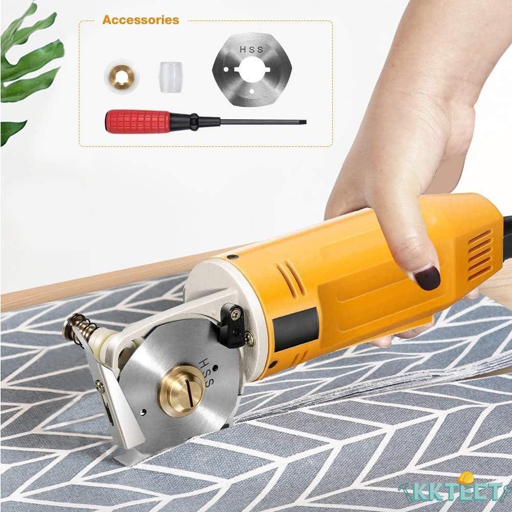 KKTECT Cortador de tela rotatorio eléctrico Mini Máquina de corte manual de cuchillas redondas de 2