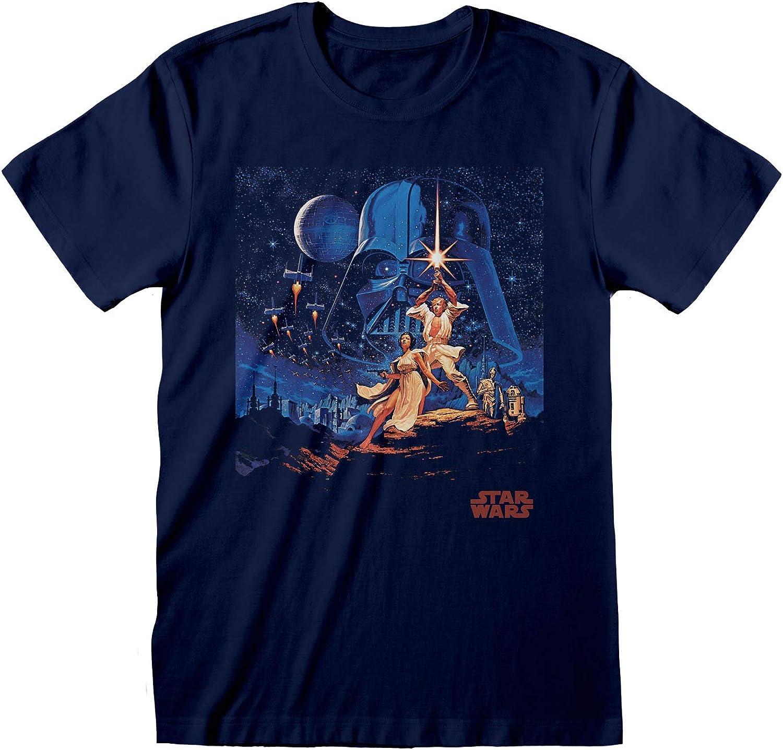 Star Wars Una Nueva Esperanza Ilustraciones de época Camiseta para Hombre | mercancía Oficial: Amazon.es: Ropa y accesorios