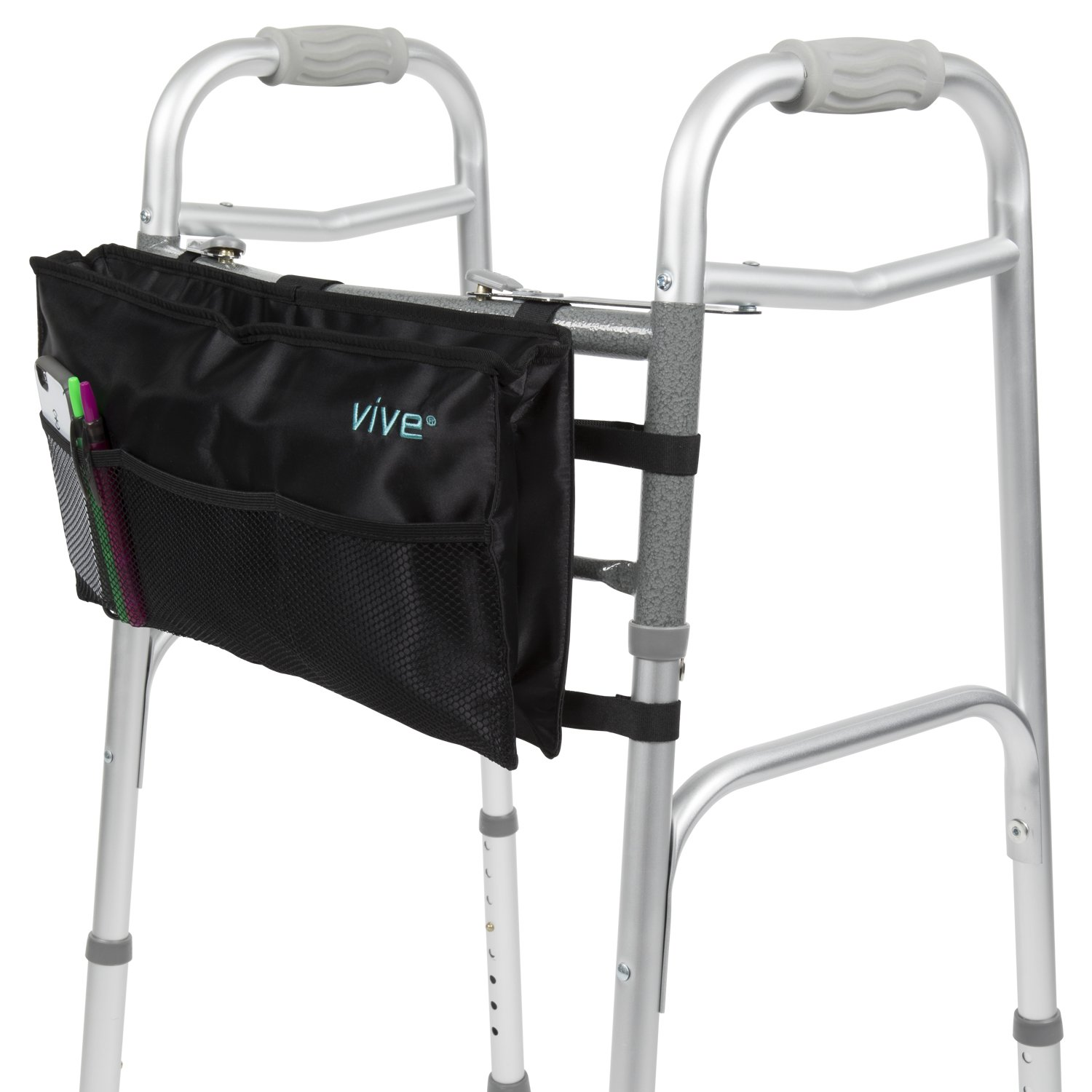 Walker Bag by Vive - Accessory Tote Caddy Provides Hands Free Storage - Folding Walker Attachment Fits Most Wide and Narrow Styles - Elderly Senior Handicap Basket Pouch Disabled, Black