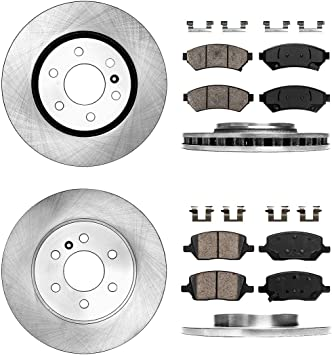 Front 4 Ceramic Pad Fits 2003-2004 Cadillac Seville Drilled Slotted Rotors 2