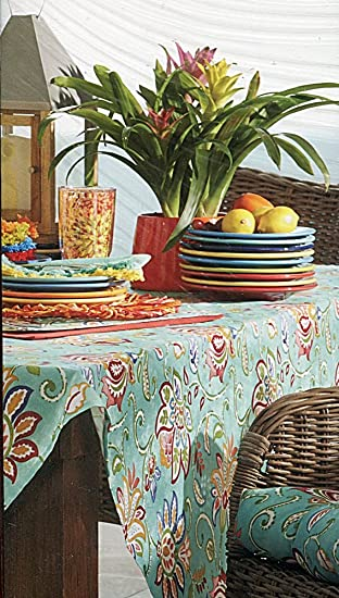 Fiesta Jacobean Turquoise Indoor Outdoor Fabric Tablecloth, 60 By 102 Inch  Oblong Rectangular