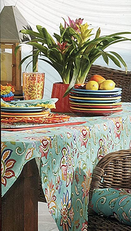 Amazon.com: Fiesta Jacobean Turquoise Indoor Outdoor Fabric ...