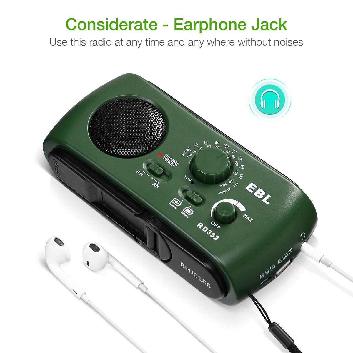 EBL Portable FM/AM Radio Emergency Solar Hand Crank Rechargeable Radio with LED Flashlight for Household Camping Traveling (Green)