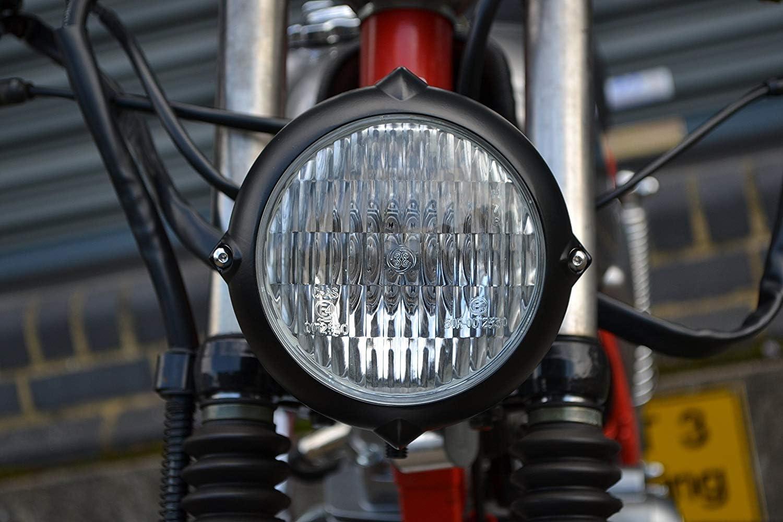 5.5  12V//35W Nero Opaco Inferiore Supporto Omologato Moto Faro