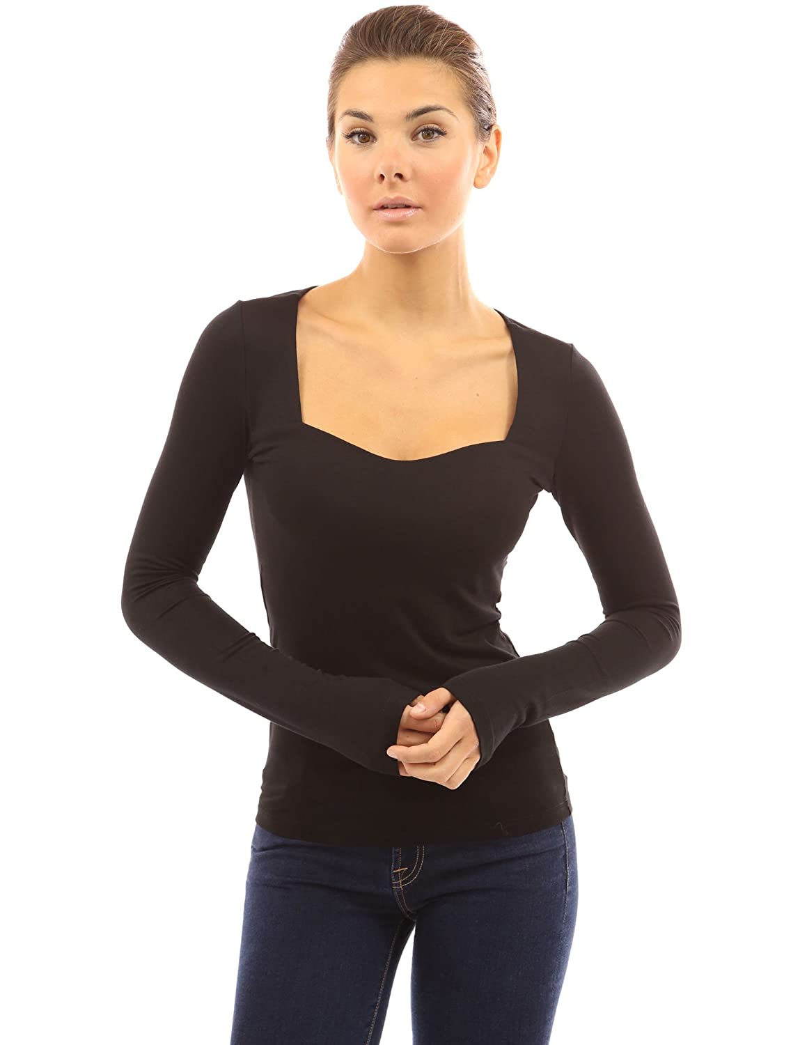 PattyBoutik Womens Square Neck Long Sleeve Blouse