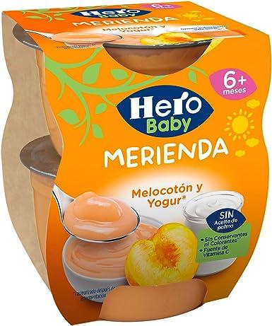 Hero Baby Merienda Tarrinas de Puré de Melocotón y Yogur para Bebés a partir de 6 meses Pack de 6 de 2x130 g: Amazon.es: Alimentación y bebidas