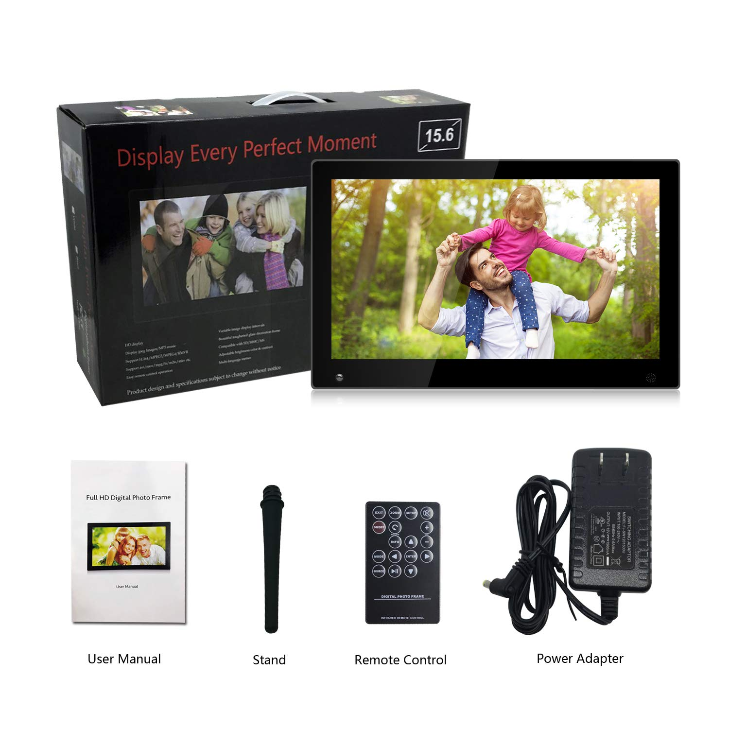 15.6 Inch Large Digital Picture Frame with Hu Motion Sensor LCD Advertising Player with 1080P LCD AV HDMI Input VESA Full IPS Remote by SSA (Image #9)