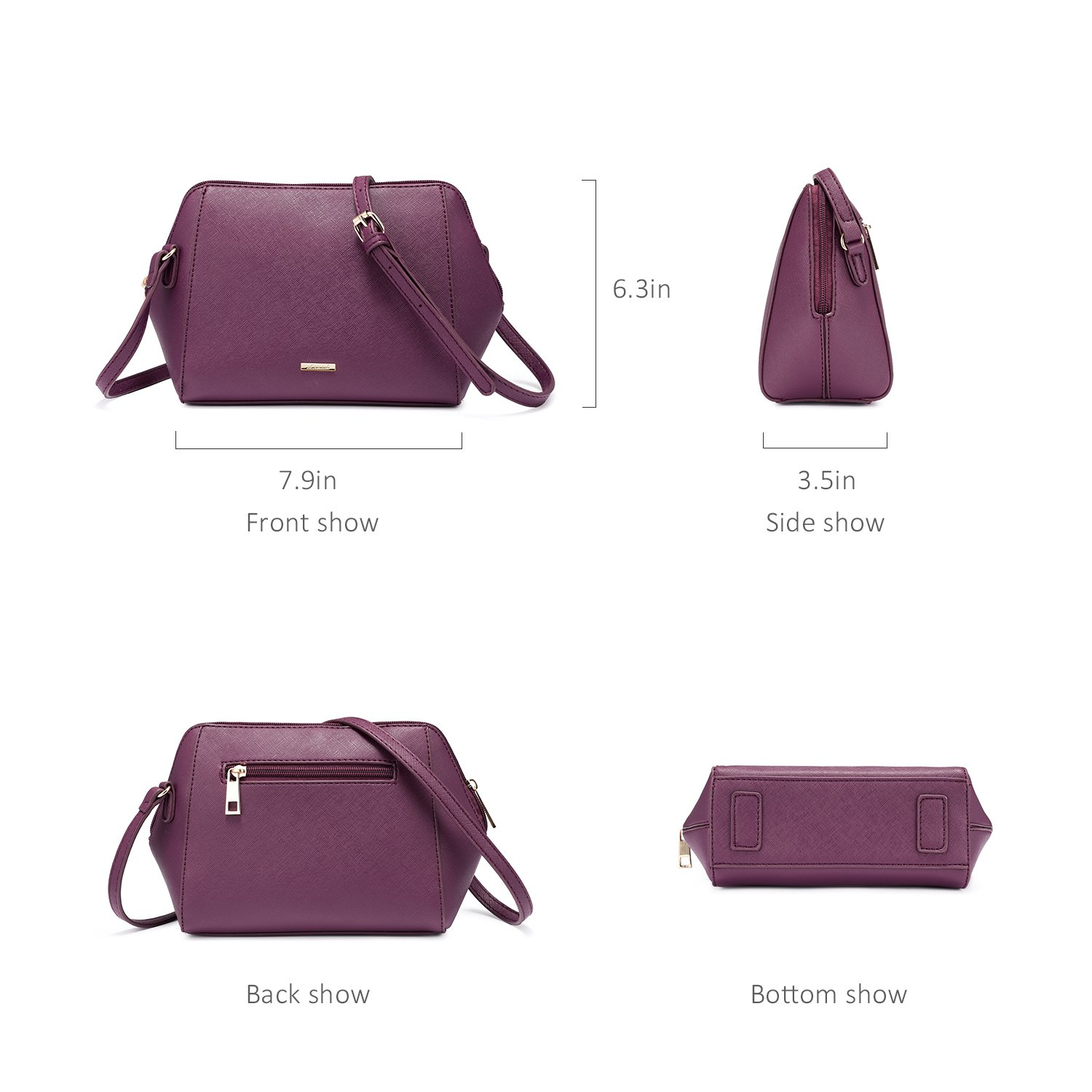 LOVEVOOK Women Purses and Handbags Chic Crossbody Bag Hobo 3pcs Large Capacity Purple by LOVEVOOK (Image #5)