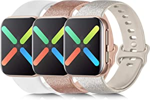 [3 Pack] Silicone Bands Compatible with Apple Watch Bands 38mm 40mm 42mm 44mm, Soft Wristbands Compatible with iWatch Bands (Oatmeal Glitter Silver/Khaki Glitter Rose Gold/White, 38mm/40mm S/M)