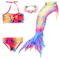 Mermaid Tail Swimmable Princess Bikini Set Swimsuit Costume for Girls