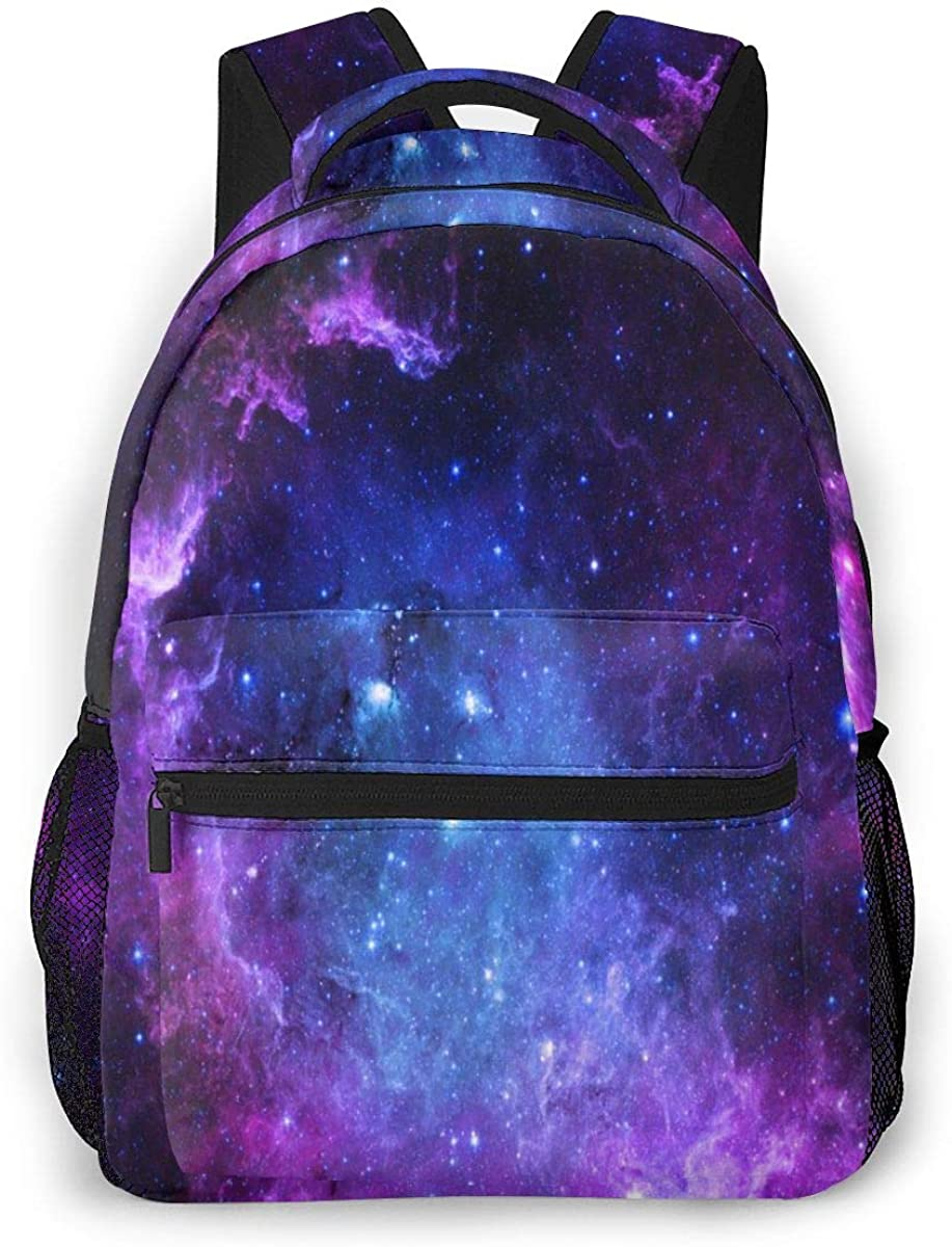 Boys Girls Purple Blue Galaxy Laptop Backpack Star Space Travel Bag Hiking Camping Daypack