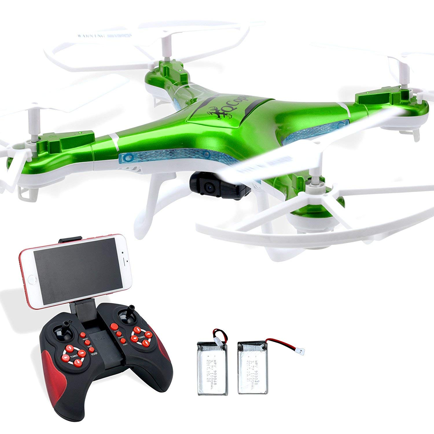 Qs Quadcopter Green Drones for sale with camera. Drone with Double flight time. Drone LED lighting Q-copter has Return Home feature. Quintana Sales Inc QC1