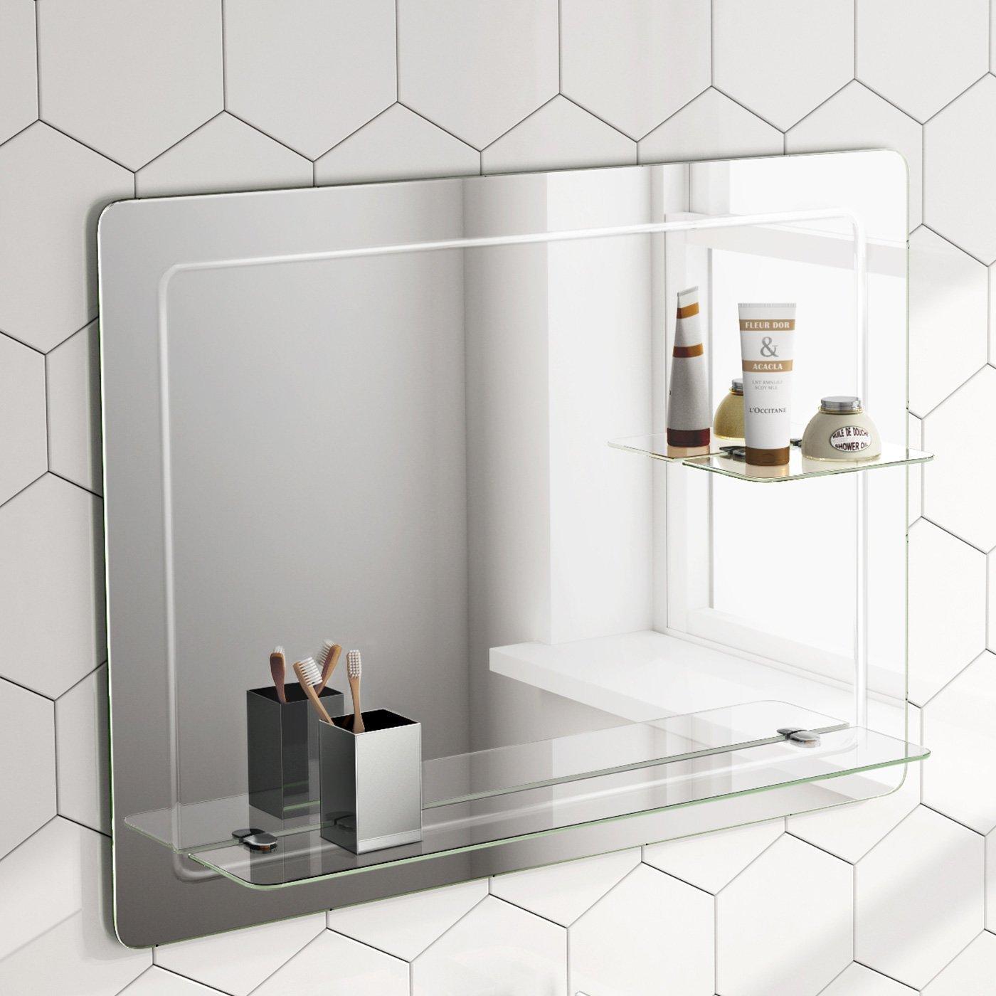 Soak Design-Wandspiegel mit Ablagefläche - Moderner Badspiegel - 80 x 60 cm, abgerundete Ecken, einfache Montage iBathUK