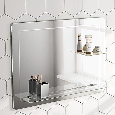 Soak Specchio di Design per Bagno con Mensole in Vetro, da Parete ...