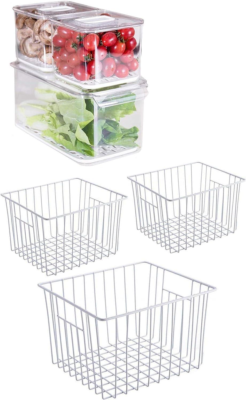iPEGTOP Refrigerator Freezer Baskets, Household Wire Storage Basket Bins Organizer & Fridge Produce Saver Food Storage Bin Containers, Stackable Refrigerator Freezer Organizer