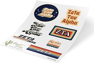 Zeta Tau Alpha 70's Themed Sticker Sheet Decal Laptop Water Bottle Car Zeta (70's Sheet)