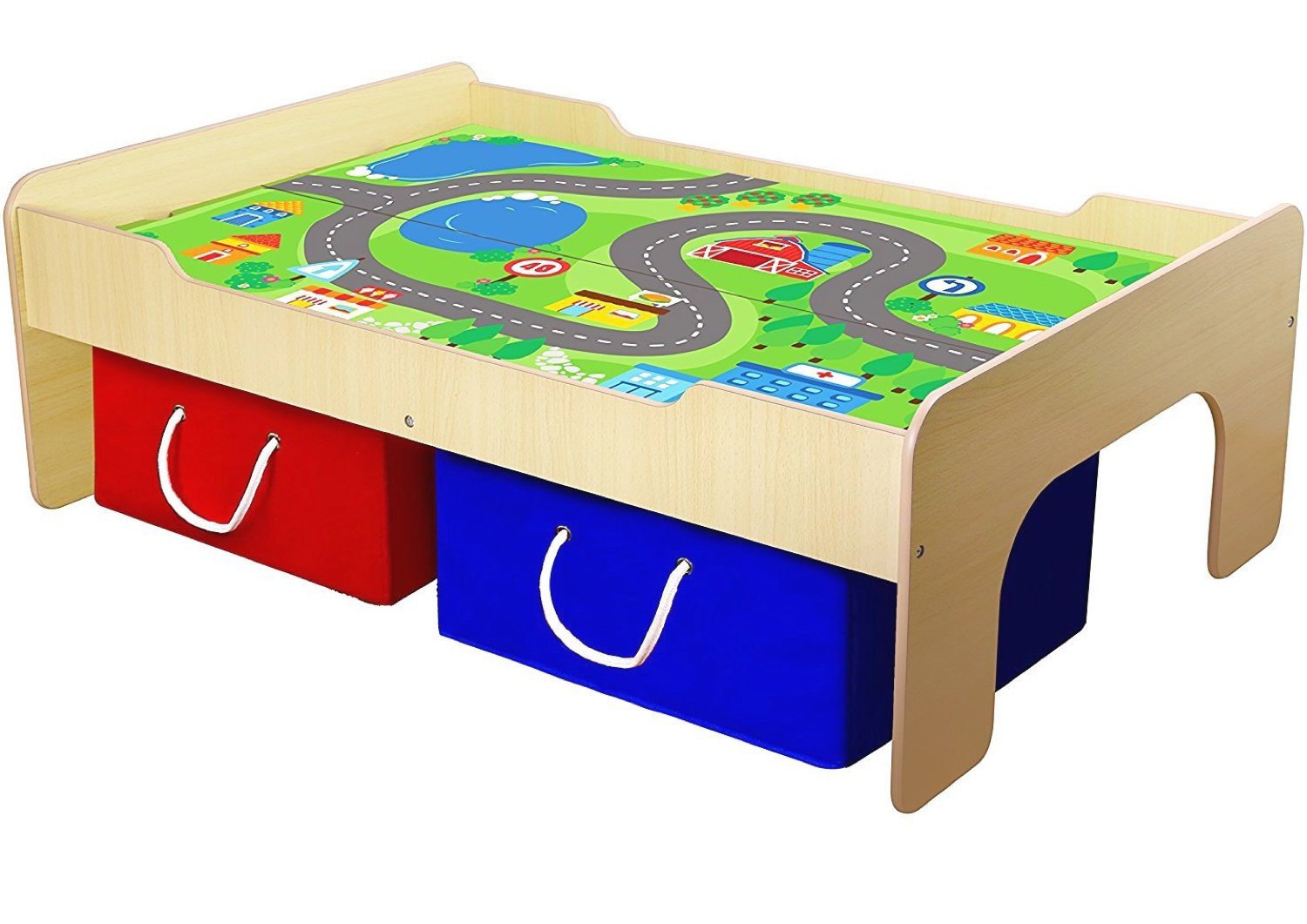 Pidoko Kids Wooden Multi Activity Play Table, Natural - For Boys & Girls - Includes Two Storage Bins - Double Sided Board - Perfect for Train Sets, Blocks, Arts & Crafts, and other Toddlers Toys