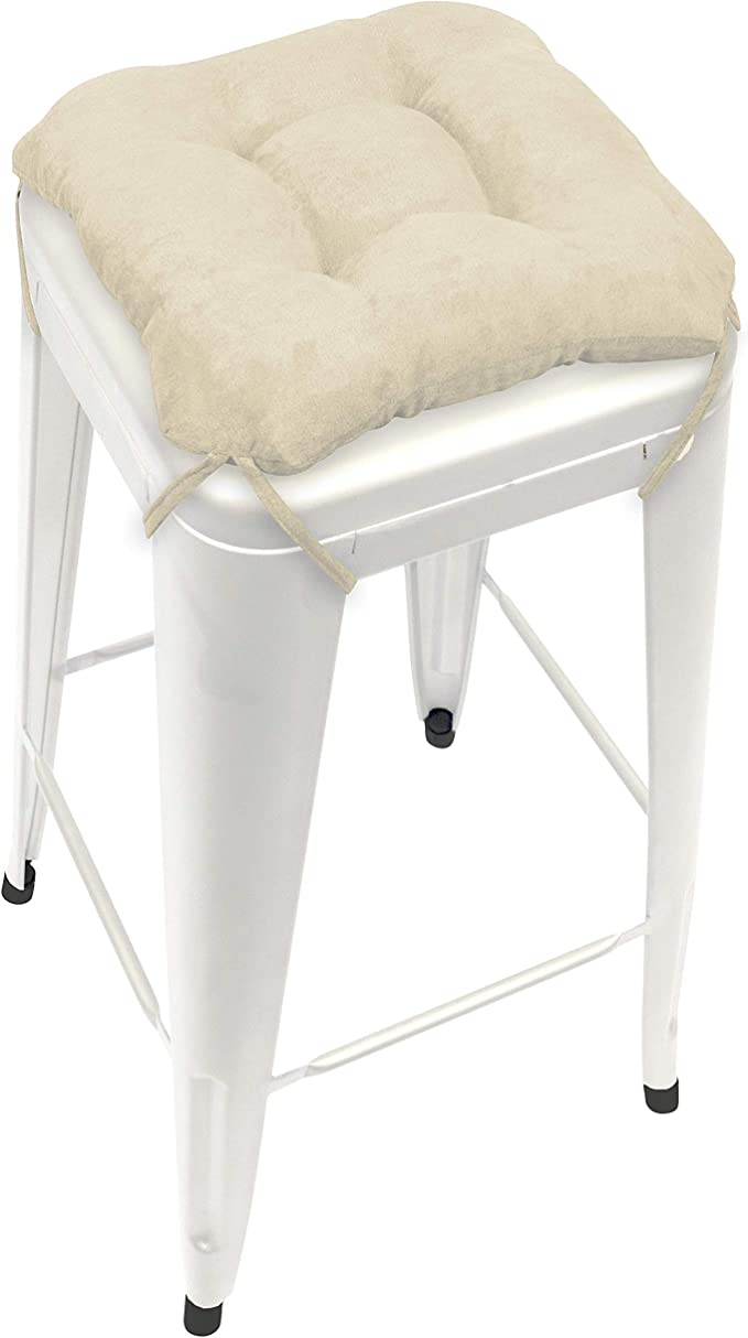 Microsuede Chamois Square Bar Stool Cushion With Ties For 12 Metal Industrial Barstools 12 Tolix Style Counter Height Chairs Latex Foam Fill Machine Washable Kitchen Dining