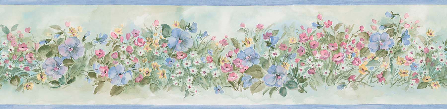 Brewster 418B025 Borders and More Watercolor Floral Wall Border, 5.125-Inch by 180-Inch