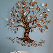 Amazon Com Tree Of Life Metal Tree Wall Sculpture Gold Tree Home Decor Everything Else