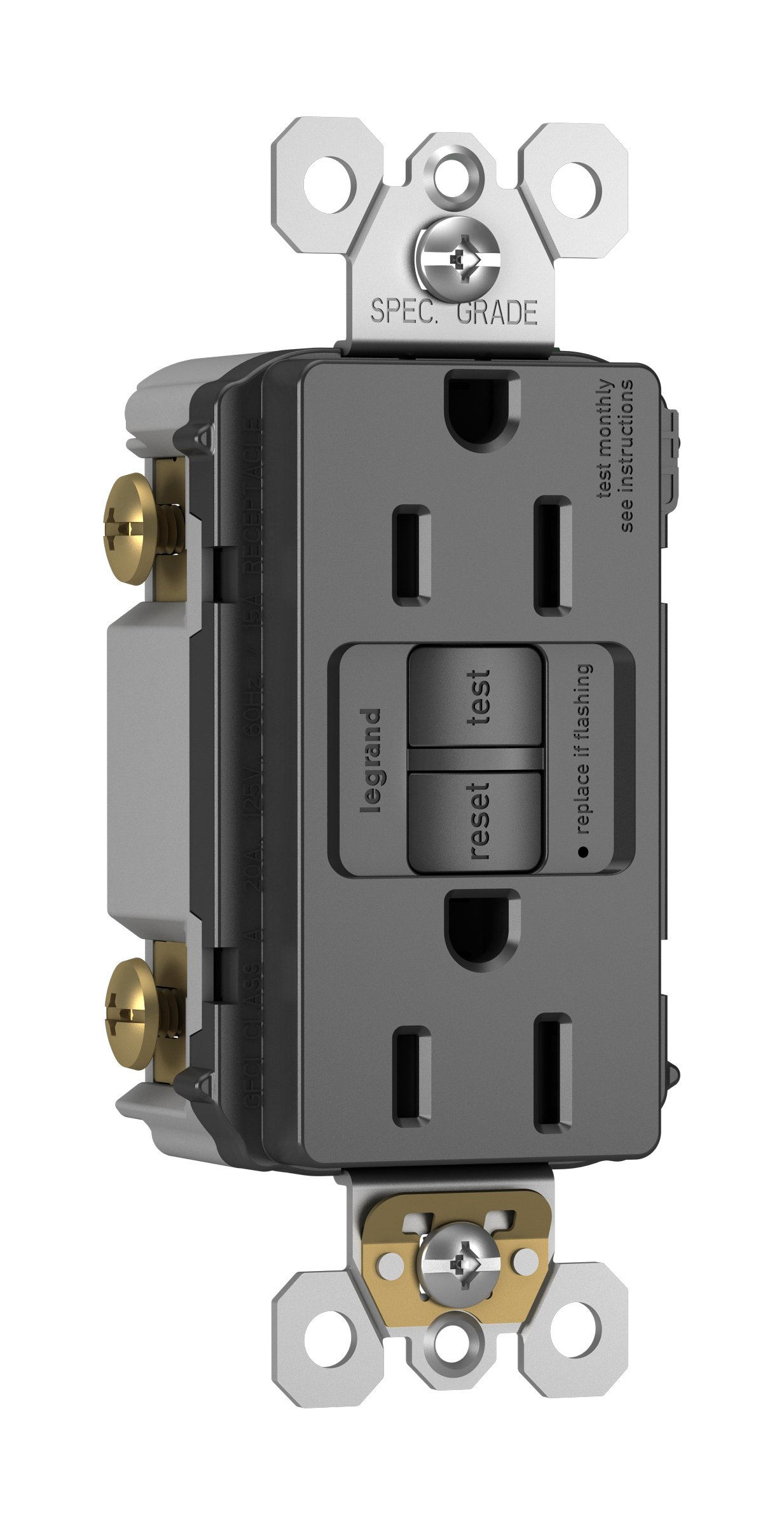 Legrand - Pass & Seymour radiant 1597TRGCC4 Tamper-Resistant 15 Amp Self-Test GFCI Outlet, Graphite