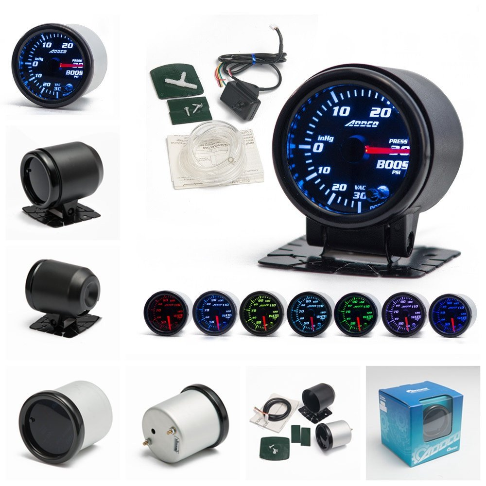 EPMAN TRAD-GA52BOOSTPSI 2'/52mm 7 Color LED Car PSI Turbo Boost Gauge Meter Smoke Lens Pointer Universal Car Meter YiPin