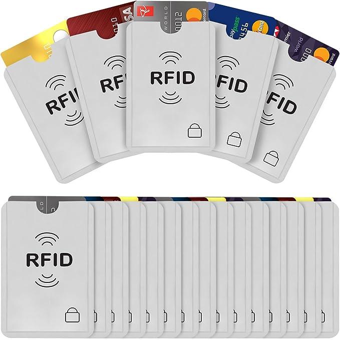 color plateado para protecci/ón contra robo de identidad Fundas para tarjetas de cr/édito con bloqueo RFID 20 unidades Savisto