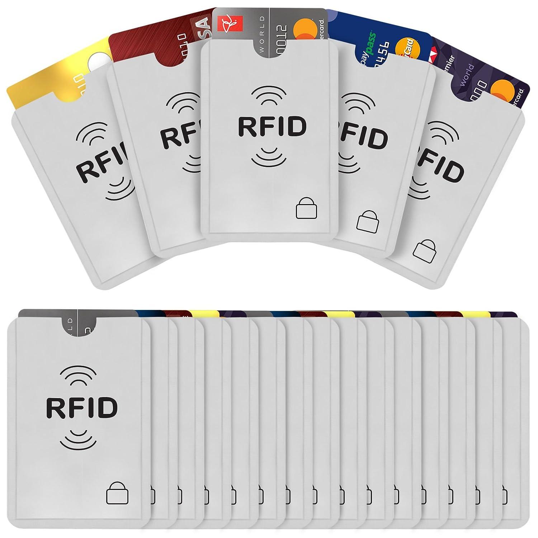 Savisto RFID Schutzhülle (20 Stück) NFC Schutz Kartenhalter Etui - Datenschutz & Diebstahlsicherung für Kreditkarte, Personalausweis, Debitkarte, EC Karte - RFID Chip Security Blocker - Silber SV-HOUS-Z093