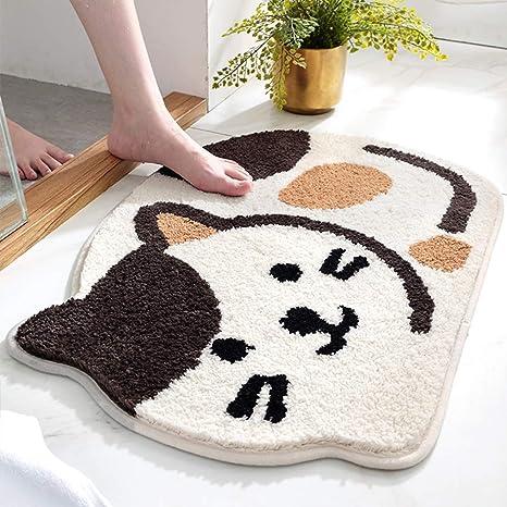 Jinchan Area Rug Cute Cat Bathrug Bathmat Floor Cover Water Absorbent Non Slip Fluffy Plush Low Pile Rug For Indoor Bathroom Kitchen Door Way Kitchen Bedroom Bedside 1 5 X 2 2 Cream Beige Ivory