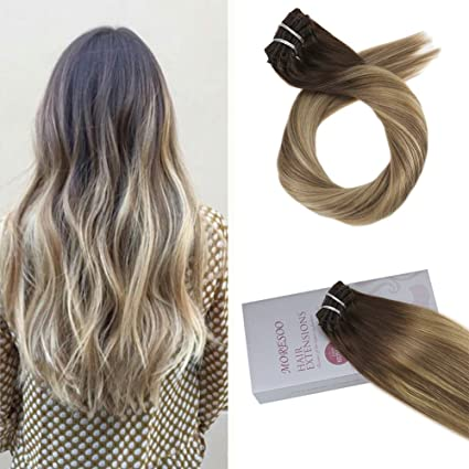 Moresoo Extensiones de Clip de Cabello Natural Marron #3 to #8 con #22