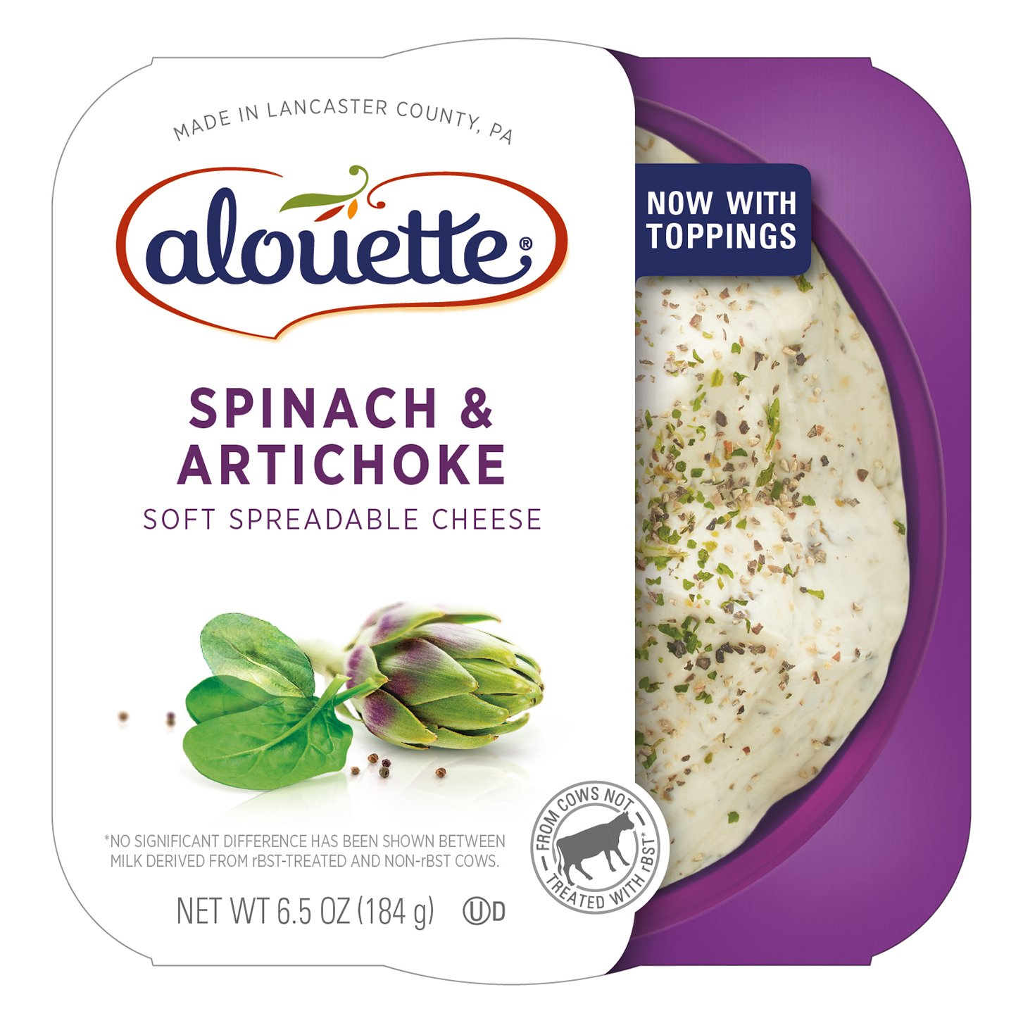 ALOUETTE Spinach and Artichoke Spreadable Cheese, 6.5 Ounce (Pack of 6)