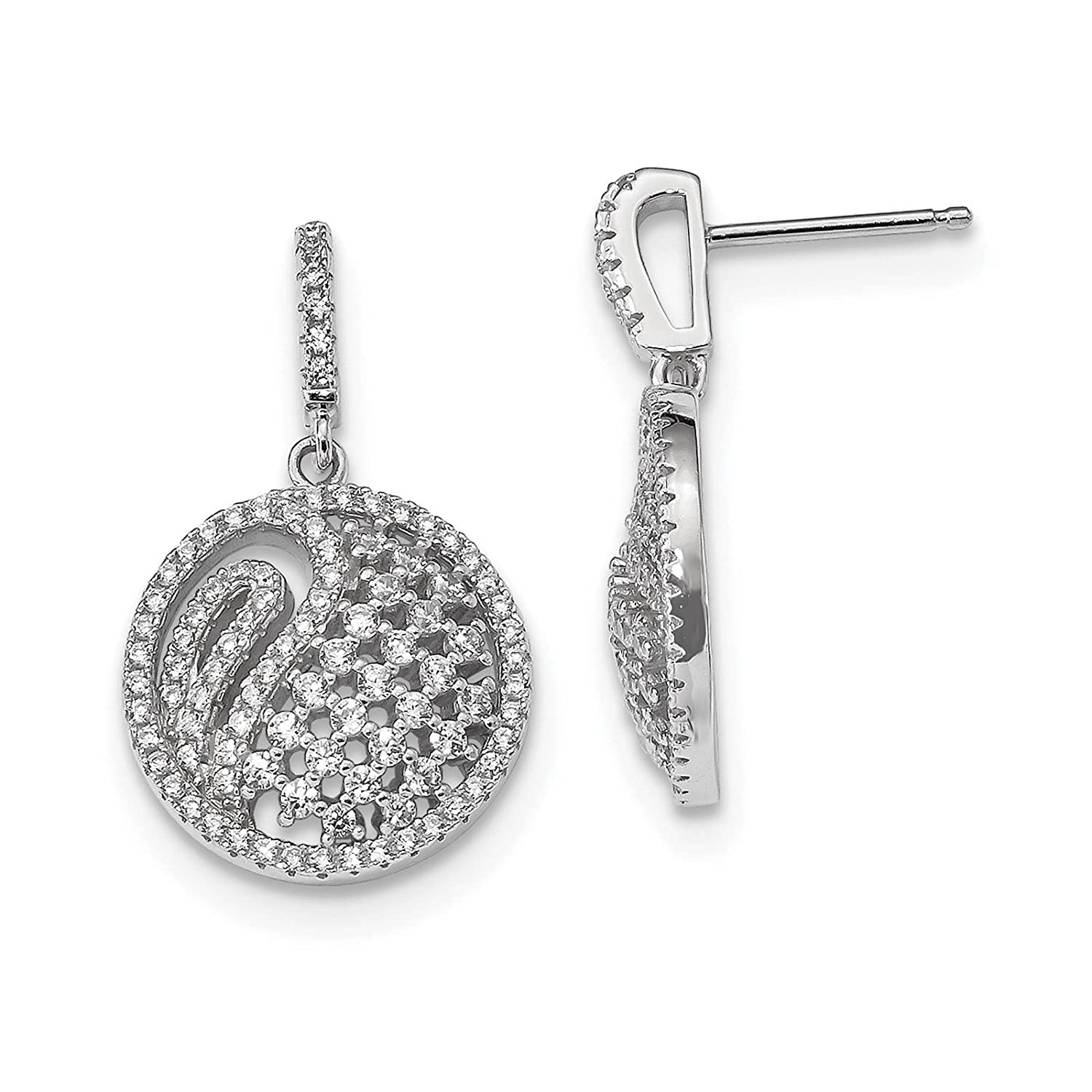 925 Sterling Silver Rhodium-plated CZ Dangle Post Earrings