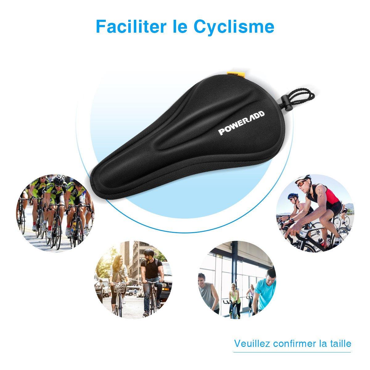Poweradd Selle siège de vélo en gel coussin de vélo sur la route extrêmement doux et confortable pour le cyclisme et bicyclette extérieur