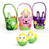 Aytai Kids DIY Craft Kit 3pcs Semi-finished Felt Bunny Baskets and Foam Eggs for Birthday Gift for Kids Party Games Supplies