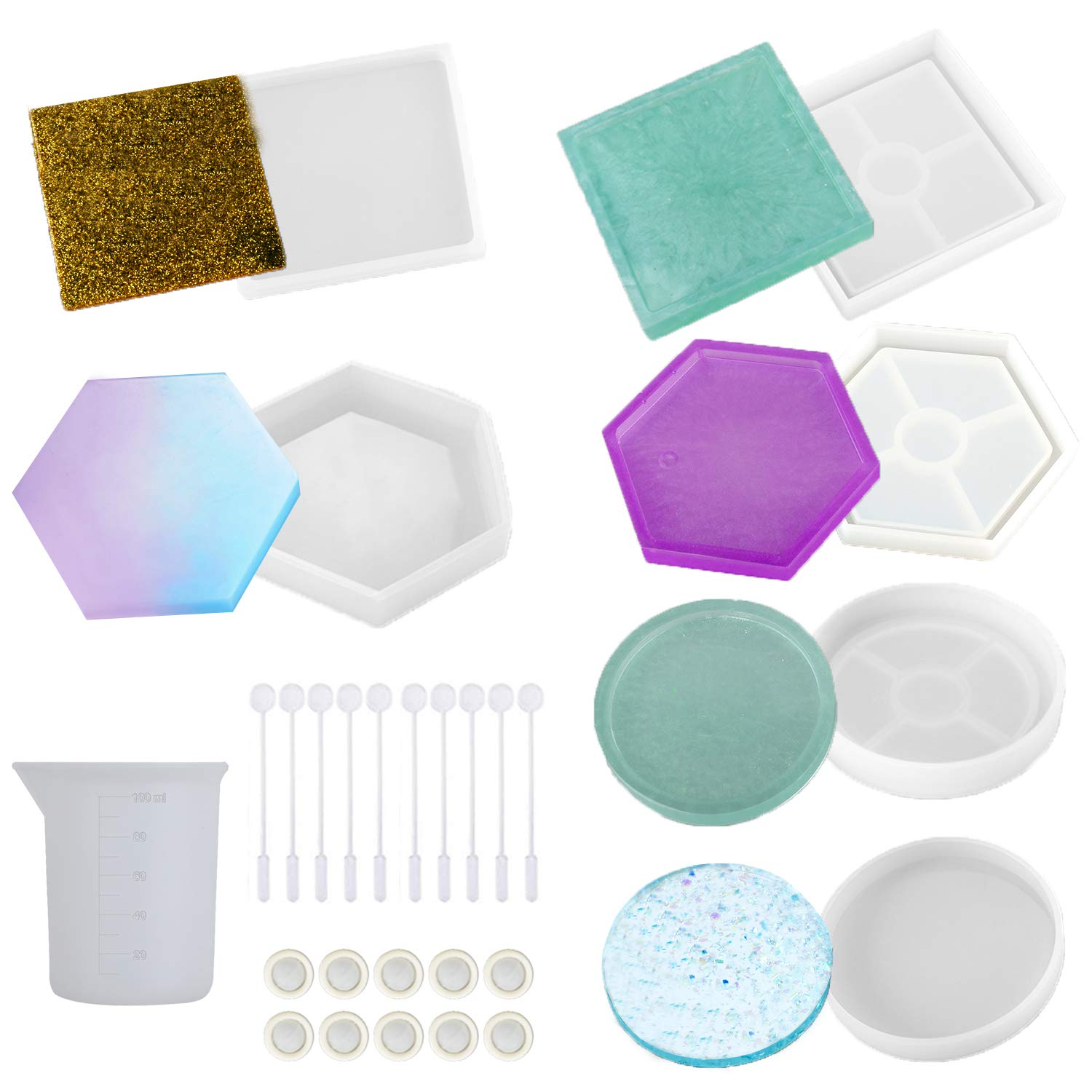 Resin Molds for Coasters,6 Pack Silicone Molds Kit for Casting Epoxy Resin UV Resin,Include Round, Hexagon and Square,with Resin Mixing and Measuring Tools by MoldResining