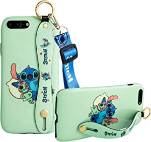 Designed for iPhone 7 Plus and iPhone 8 Plus Case, Shockproof Phone Case Cover Wrist Strap Band Kickstand Lanyard case